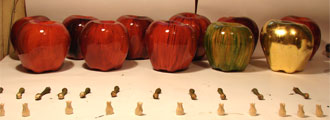 sculpted wooden apples
